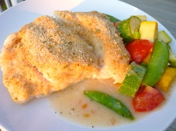 Photo of easy baked cod and veggies with lemon butter sauce