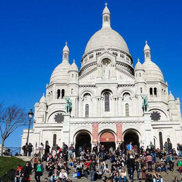 Sacre Coeur in the Montmartre neighborhood in Paris