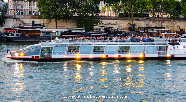Cruise boat on Seine River in Paris