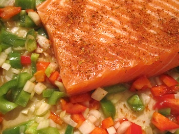 Photo of easy Cajun salmon ready to bake/ www.super-seafood-recipes.com