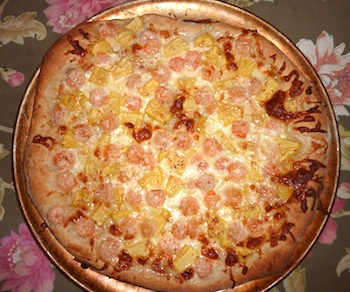 Photo of easy pizza dough used for pineapple and shrimp pizza / www.super-seafood-recipes.com
