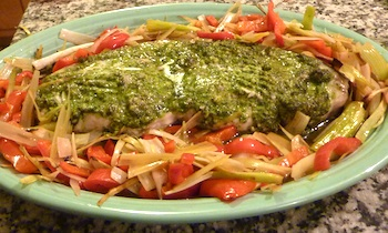 Picture of Baked Swordfish with Green Olive Tapenade, Leeks, and Red Peppers / www.super-seafood-recipes.com