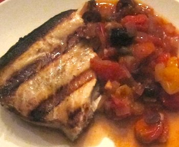 Photo of grilled swordfish with Sicilian sauce
