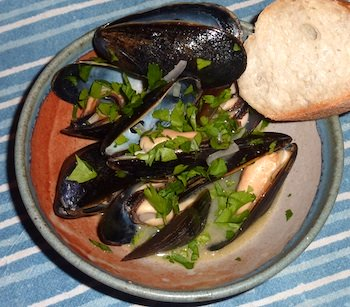 Photo of mussel being cleaned with a brush / www.super-seafood-recipes.com