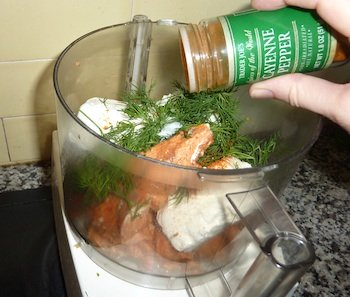 Photo of Salmon Dip Recipe ingredients in food processor before mixing / www.super-seafood-recipes.com